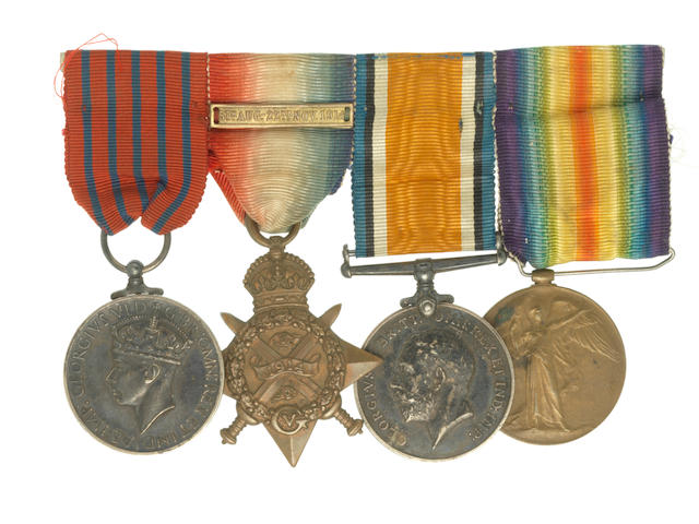 A Second World War George Medal group of four to Acting Clerk of Works W.T.Wheeler, Air Raid Precautions Rescue Service Depot Deptford, late Middlesex Regiment,