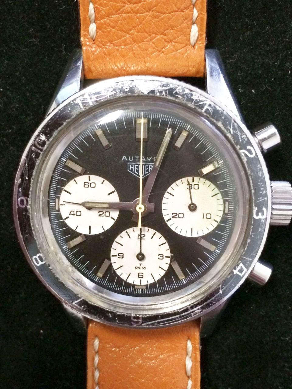 Heuer. A stainless steel manual wind chronograph wristwatch Autavia, Case No.86068, Circa 1967