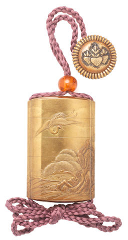 A small gold-lacquer four-case inro  By Nakayama Komin (1808-1870), mid-late 19th century