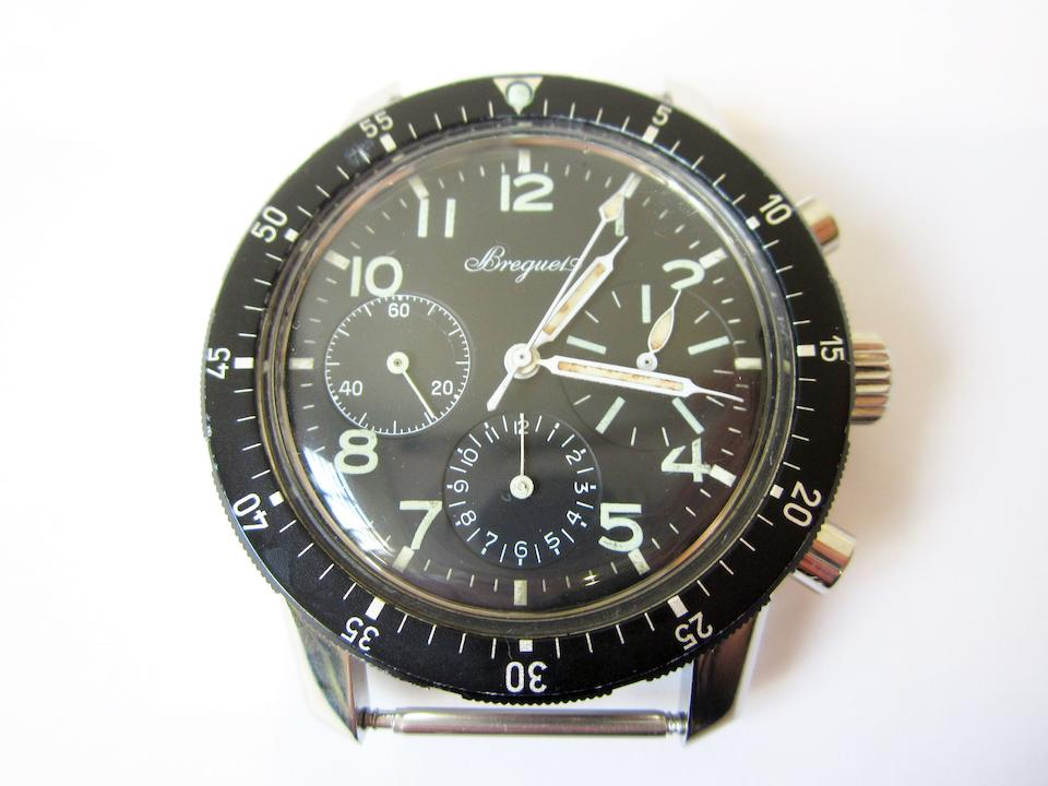 Breguet. A stainless steel manual wind flyback chronograph wristwatch Aeronavale, Type 20, Case No.B21302, Circa 1972