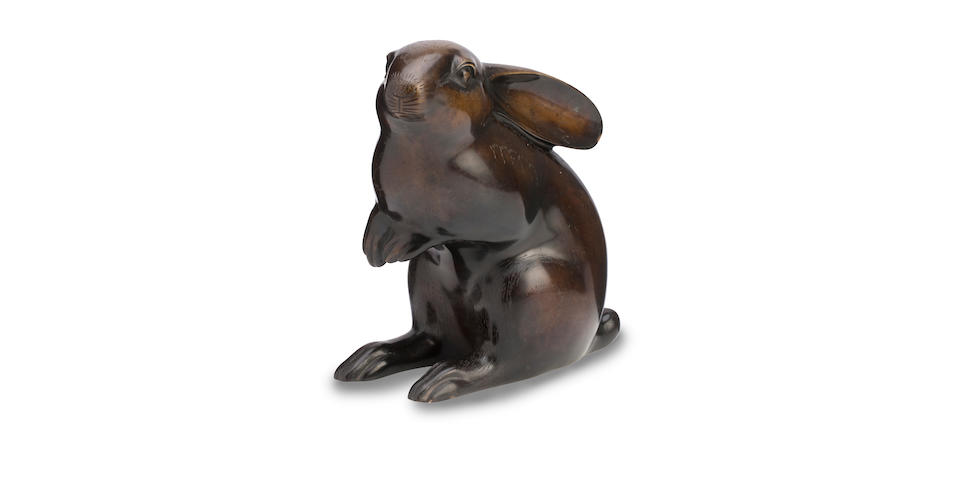 A bronze okimono of a rabbit Meiji