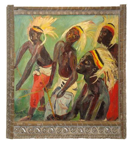 Irma Stern (South African, 1894-1966) Watussi Dancers (within Zanzibar frame.)