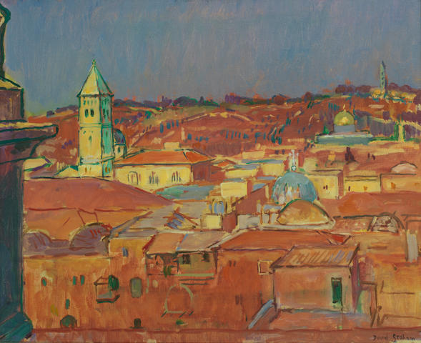 David Graham (British, born 1926) 'Old city of Jerusalem, sunset' (together with another view of Jerusalem by the same hand (2))
