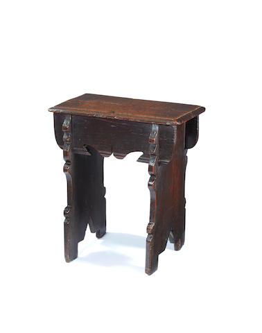 A rare Elizabeth I boarded oak stool, circa 1570