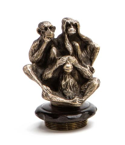 A 'Three Wise Monkeys' mascot by A Delm, French, 1920s,