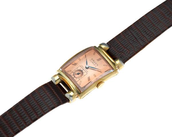 Gruen. A gold plated manual wind rectangular wristwatch