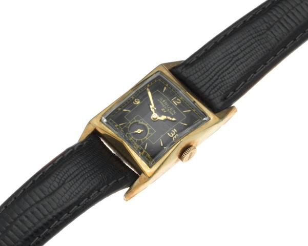 Gruen. A gold plated manual wind rectangular wristwatch Model: Precision 21