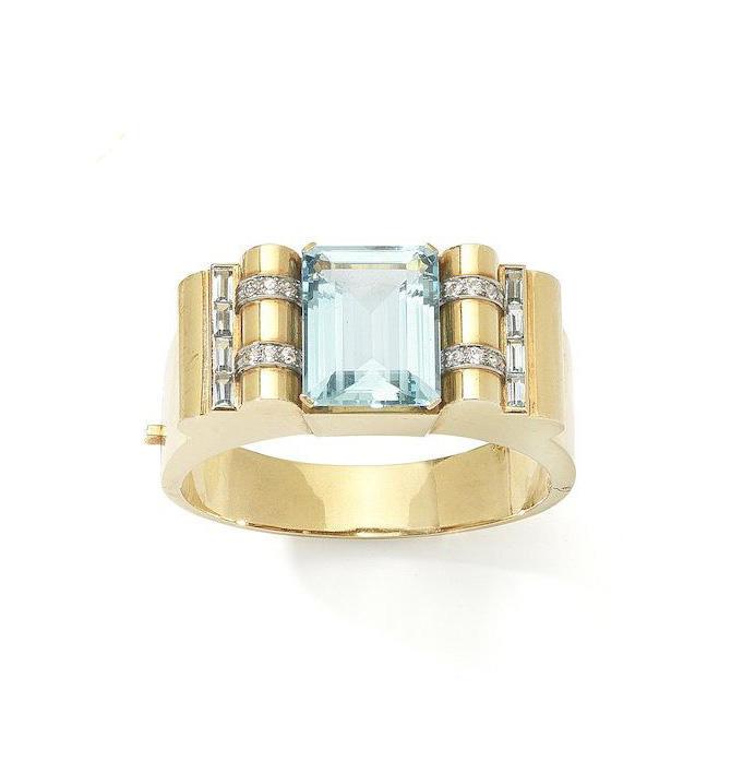 An aquamarine and diamond bangle, circa 1940