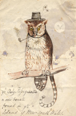"""LEAR (EDWARD) Group of four autograph drawings by Lear, drawn for the family of his childhood friend Fanny Drewitt of Peppering House, Dorset, and her husband George Coombe, including """"Ye Owly Pussey-catte"""" and a nonsense drawing of Mr and Mrs Crocodile with other watercolours and drawings (one possibly by Lear) in a partly disbound album"""