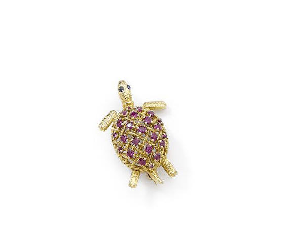 A ruby and sapphire turtle brooch, by Cartier