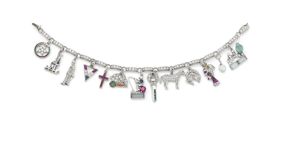 An Art Deco gem-set and diamond charm bracelet, by Cartier,