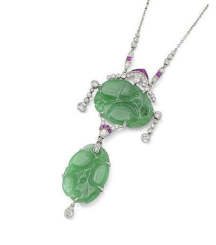 A jade, ruby and diamond pendant necklace,