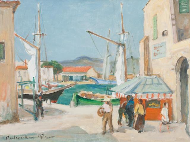 John Maclauchlan Milne RSA (British, 1886-1957) St Tropez Harbour  44 x 59.5 cm. (17 1/2 x 23 5/8 in.)