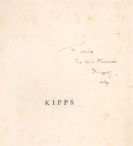 """WELLS (H.G.) Kipps. The Story of a Simple Soul, FIRST EDITION, AUTHOR'S PRESENTATION COPY, INSCRIBED """"To Hick, the wise phisihian fm H.G."""" on half-title, Macmillan, 1905"""