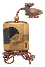A gold-lacquer three-case inro  By Shiomi Masanari, Edo period (1615-1868), 18th century