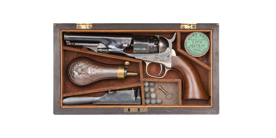 A Fine Cased Presentation .36 Percussion Colt 1862 Model Police Revolver