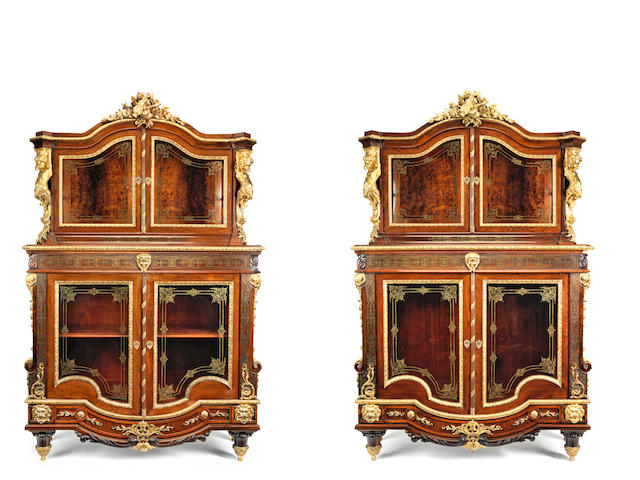 A pair of Napoleon III gilt bronze mounted rosewood and brass 'Boulle' inlaid vitrines (2)