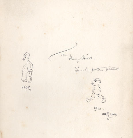 """WELLS (H.G.) Twelve Stories and a Dream, FIRST EDITION, AUTHOR'S PRESENTATION COPY, INSCRIBED """"To Henry Hick, from his pattern patient. H.G.Wells"""" beside two self-portrait caricatures, showing Wells as he was in 1898 and in 1903, on the front free endpaper, Macmillan, 1903"""
