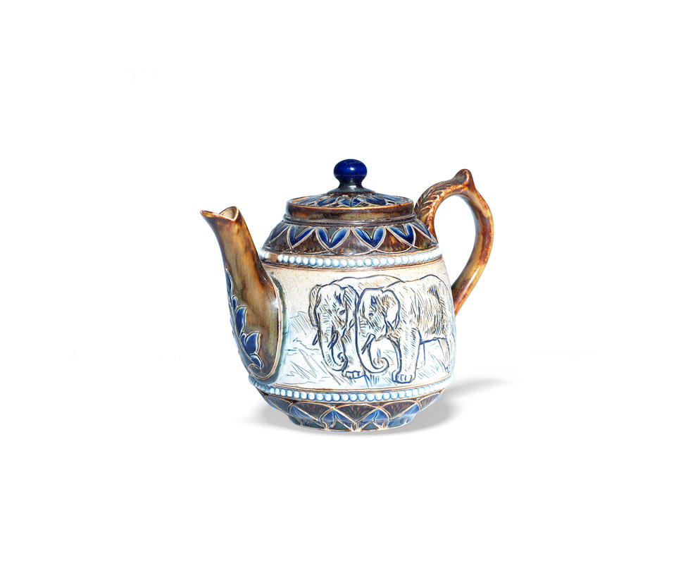 a rare and probably unique doulton lambeth teapot and lid with elephants by hannah barlow ARTIST MONOGRAM, CIRCA 1885