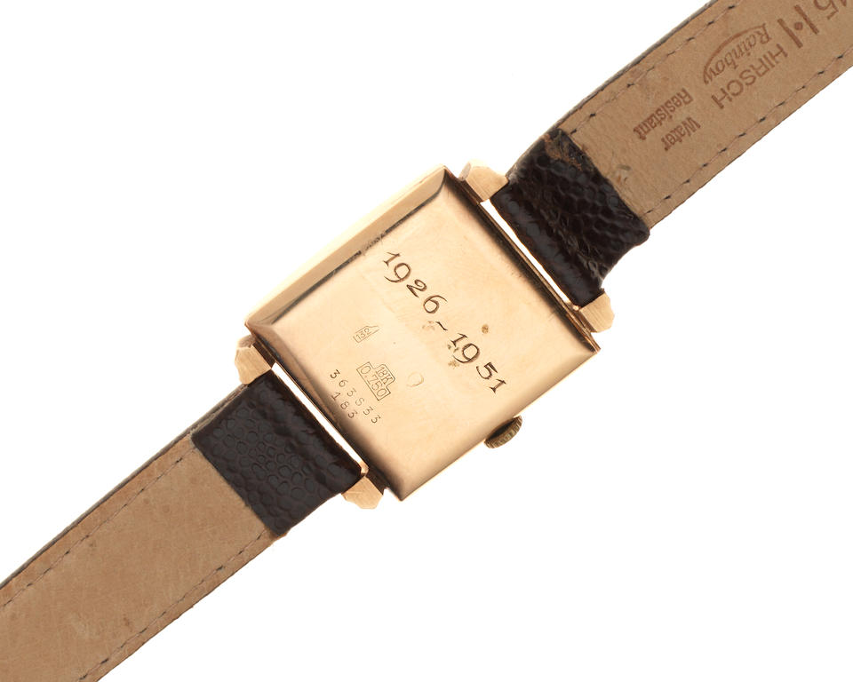 Breitling. An 18K gold manual wind square wristwatch Ref: 183, Circa 1950