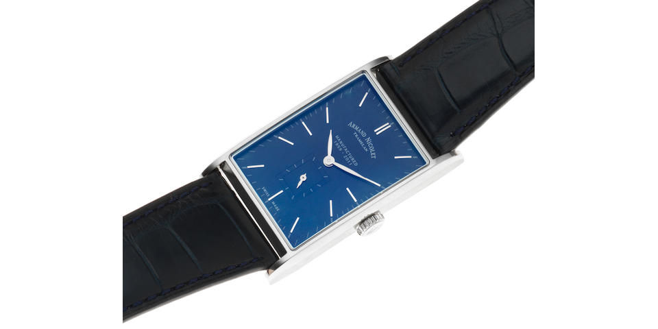 Armand Nicolet. A stainless steel manual wind rectangular wristwatch Ref: 9680A, Sold 28th May 2013