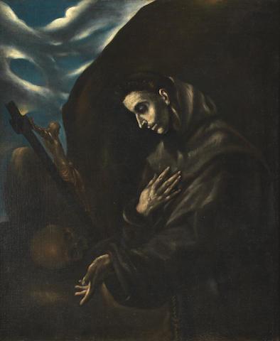 After Domenikos Theotokopoulos, called El Greco, 17th Century Saint Francis in prayer