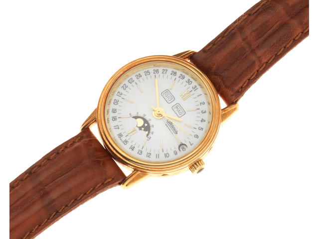 Altanus. An 18K gold automatic triple calendar wristwatch with moon phase Ref: 10.121, Circa 1990