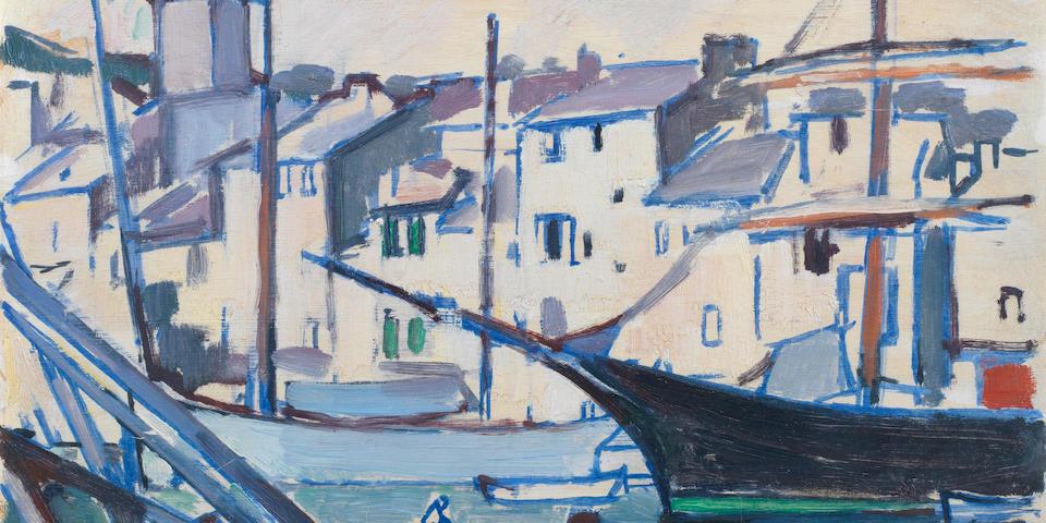 Samuel John Peploe RSA (British, 1871-1935) Cassis Harbour 33 x 41 cm. (13 x 16 1/8 in.)