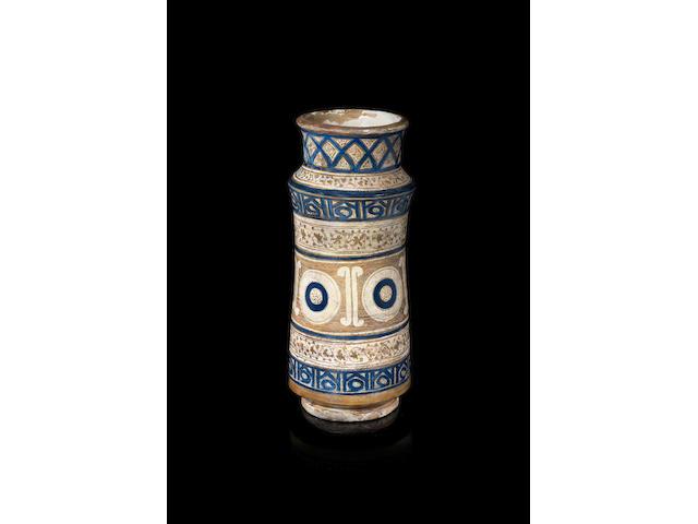 A Nasrid lustre pottery Albarello Malaga, Spain, late 14th/ early 15th Century