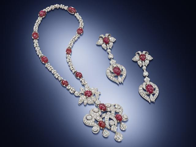 An Art Moderne ruby and diamond convertible necklace and pair of pendent earrings,