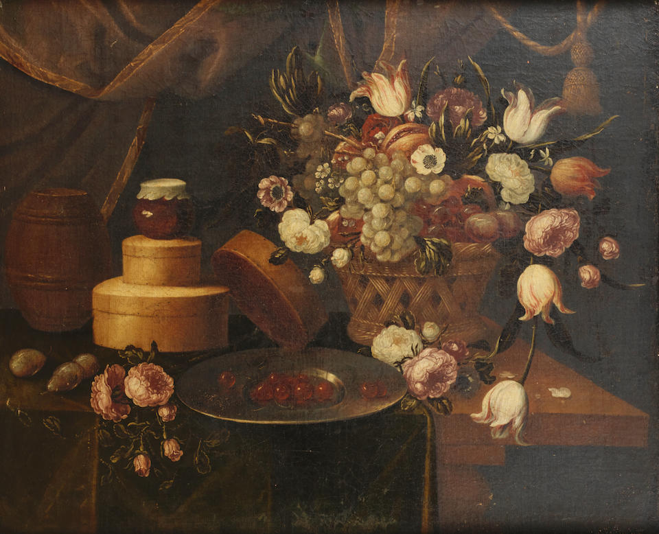 Hispano-Flemish School, early 18th Century Grapes, flowers in a basket with a pewter dish of cherries on a draped table; and A tazza of flowers with a dish of oysters on a table-top; and A lobster on a dish before a ewer and a vase of flowers on a table-top; and A tazza of flowers  (4)