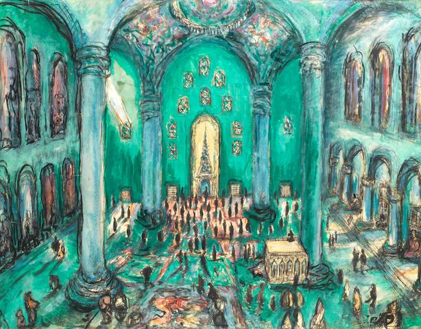 Fahr El-Nissa Zeid (Turkish, 1900-1991) Interior of the Blue Mosque - Istanbul