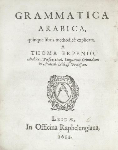 ERPENIUS (THOMAS) Grammatica Arabica, small 4to