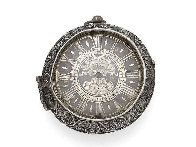 A silver key wind open face pair case clock watch (AF) Circa 1700