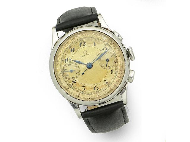 Omega. A stainless steel manual wind chronograph wristwatch Case No.9977740, Movement No.9386814, Circa 1940