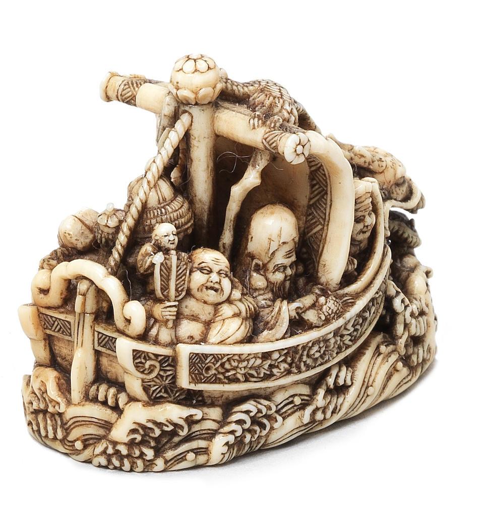 An ivory netsuke of the takarabune (treasure ship) By Ryukei II, Edo, 19th century