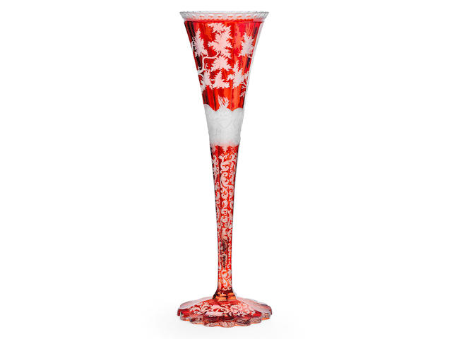 A Bohemian ruby-stained trumpet vase, circa 1840-60