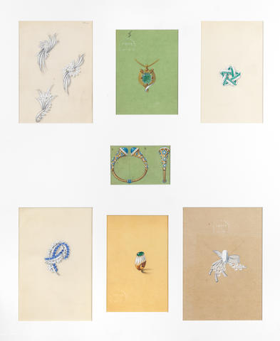 Three framed collections of Cartier design drawings (23)