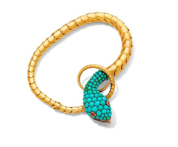 A turquoise serpent bracelet,