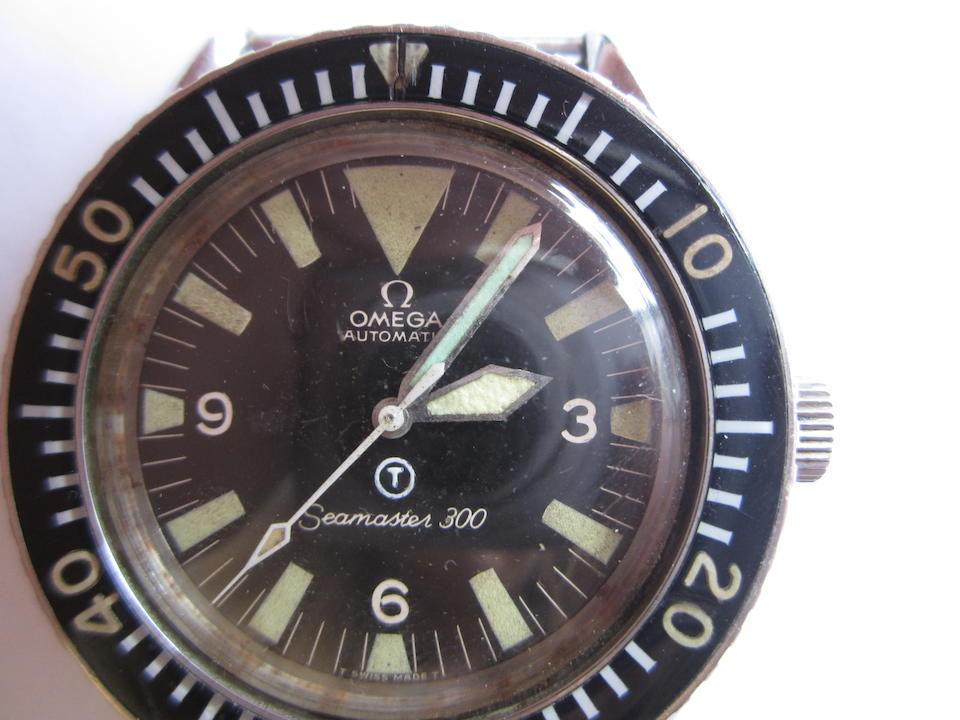 Omega. A rare Royal Navy military issue stainless steel automatic wristwatch Seamaster 300, Ref:ST.165.024, Movement No.26309269, Manufactured 31st July 1968, Issued 1970