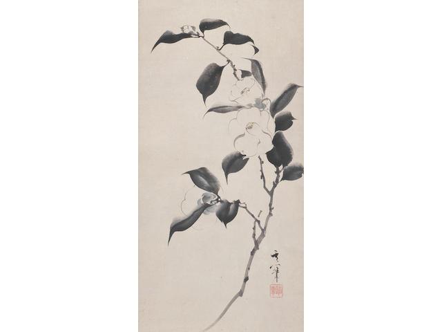 Suzuki Kiitsu 鈴木其一 (1796-1858) and Kameda Bōsai 亀田鵬斎 (1752-1826) Camellia and Calligraphy Edo period (1615-1868), circa 1820 (2)