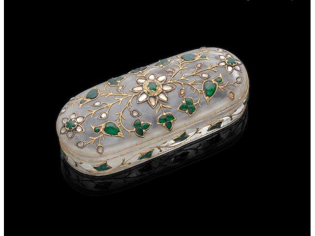 A diamond and emerald-set rock crystal box India, 19th Century