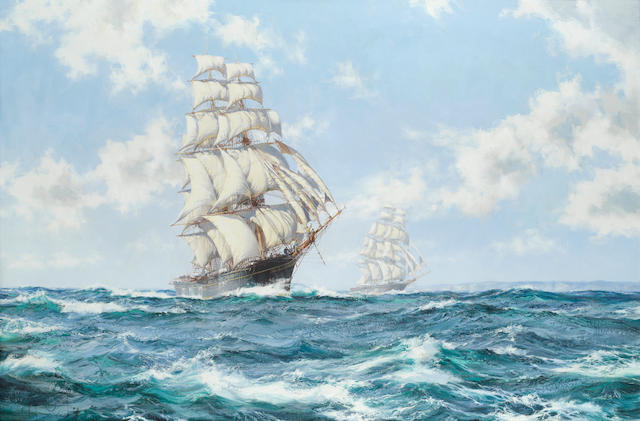 Montague Dawson (British, 1890-1973) The Tea Clippers - The Race between Taeping and Ariel in 1866 off Lands End