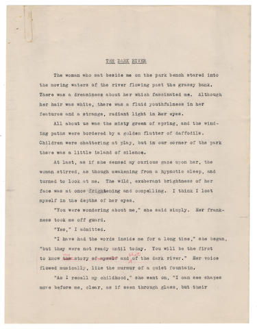 """PLATH (SYLVIA) Carbon typescript, with autograph revisions to one line, of her story """"The Dark River"""", [1949]"""