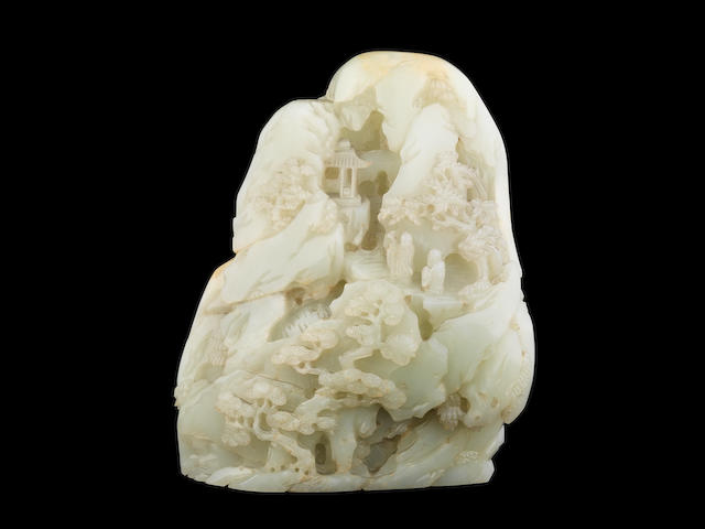 A large very pale green jade boulder 18th century (2)