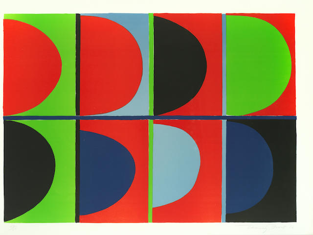 Sir Terry Frost R.A. (British, 1915-2003) Red, Blue, Green Lithograph printed in colours, 1972, on BFK Rives, signed, dated and numbered 50/65 in pencil, printed at Emil Matthieu Atelier, Zurich, published by Leslie Waddington Prints, London, with margins, 630 x 894mm (24 7/8 x 35 1/4in)(I)