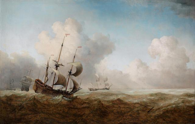 Follower of Willem van de Velde the Younger (Leiden 1633-1707 Greenwich) Shipping in rough seas