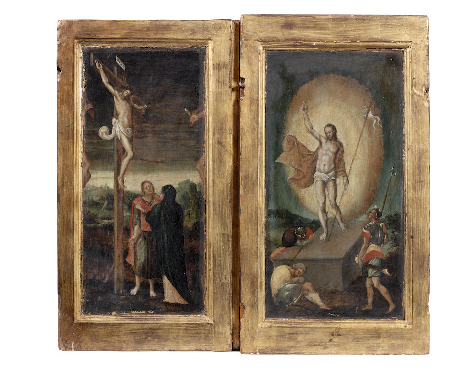 Flemish School, 16th Century The Annunciation; The Nativity; The Agony in the Garden; The Ascension; The Resurrection; The Crucifixion  and 52.2 x 28.5cm. (20 1/2 x 11 1/4in). respectively (6) with integral frames
