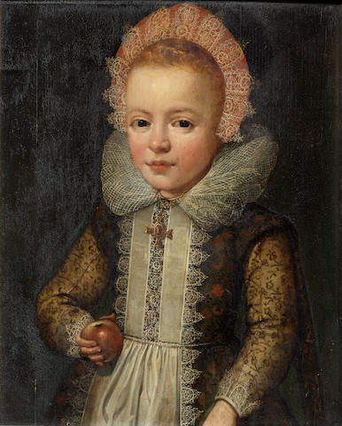 Anglo-Flemish School, early 17th Century Portrait of a girl, half-length, holding an apple