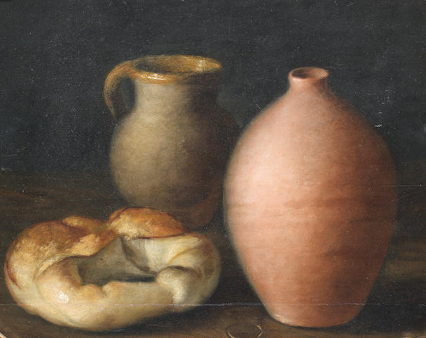 Spanish School, 18th Century A jug, a vase and a loaf of bread on a table-top